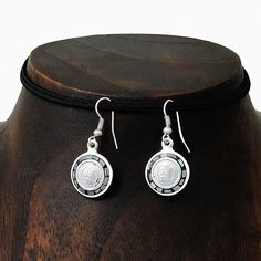 Natural Abalone Mayan Calendar Mesoamerican Silver Earrings Jewelry Taxco Mexico #Handmade