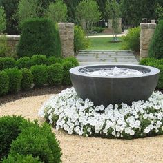 Garden Planning Formal Fountain Fountain and Garden Pond Sisson Landscapes Great Falls, VA Front Yard Garden Design, Formal Garden Design, Front Yard Landscaping, Landscaping Ideas, Walkway Ideas, Mulch Ideas, Driveway Ideas, Garden Modern, Outdoor Landscaping