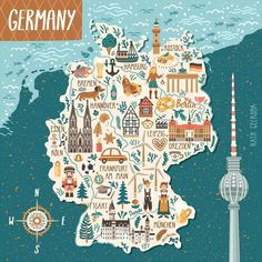 Vector Stylized Map Germany Travel Illustration Stock Vector (Royalty Free) 784734382 : Vector stylized map of Germany. Travel illustration with german landmarks, people, food and animals. Cochem Germany, Potsdam Germany, Dusseldorf Germany, Nuremberg Germany, Germany Berlin, Frankfurt Germany, East Germany, Bavaria Germany, Germany Memes