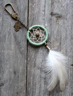 Dream Catcher Keychain Hamsa Purse Charm by VagaBoundPeople