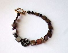 Boho Chic Asian Inspired Black Brown Shell Glass by westlakebeads