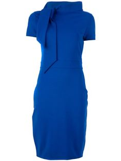 Blue wool-blend side-tie dress from DSquared2 features a round collar with asymmetric bow, short sleeves, accentuated waist and concealezip fastening on the hip.