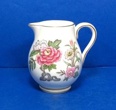 Wedgwood Cathay W4053 Creamer Bone China Pink Blue Floral Gold Edge #Wedgwood