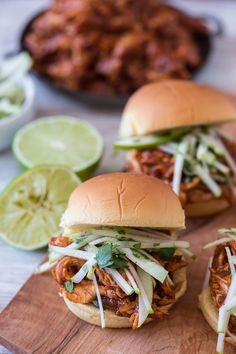 This apple butter bbq chicken sandwich is made with a spicy homemade apple butter bbq sauce, roasted chicken breast and topped with a tangy apple cilantro slaw. Shredded Bbq Chicken, Homemade Apple Butter, Bbq Chicken Sandwich, Roasted Chicken Breast, Roast Chicken Recipes, Wrap Sandwiches, Butter Chicken, Favorite Recipes, Cilantro