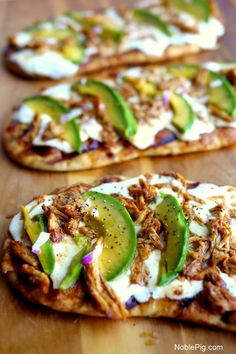 Grilled Avocado Barbecue Chicken Naan Pizza