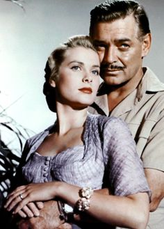 Grace Kelly and Clark Gable in a publicity photo for Mogambo, 1953