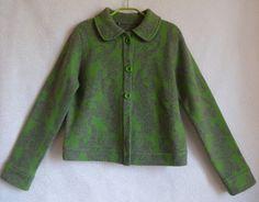 Green Gray Wool Cardigan US 8 Size Cardigan Women's Warm Clothing Vintage…