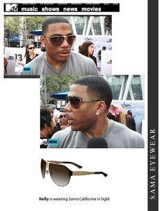 4b61d27f138 Nelly is wearing Sama Eyewear California in color brushed gold featured on  MTV
