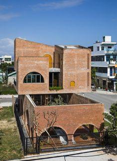 Brick Architecture, Residential Architecture, Contemporary Architecture, Tropical, Cafe Design, House Design, Terrace Design, Small Terrace, Storey Homes