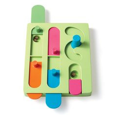 Slide it Another tough nut to crack, this toy requires your dog to slide or flip wooden pieces from side to side to nab the stowed-away treats.