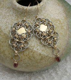 Red Garnet Chainmaille Long Earrings Gold Gray by LoneRockJewelry