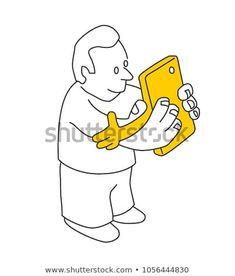 Cartoon of a happy man and his smart phone hugging each other. Smart phone, internet and social media addiction concept. Digital Detox, Mobile Technology, Special Promotion, New Pictures, Royalty Free Photos, Addiction, Smartphone, Internet, Social Media