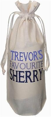 PERSONALISED - FAVOURITE SHERRY - NATURAL COTTON BOTTLE BAG Christmas / Birthday - 371171425985