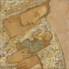 Mother and Child in Textured White- J. Kirk Richards