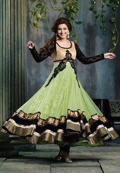 Pista Green Net Anarkali #Churidar #Kameez @ $121.21