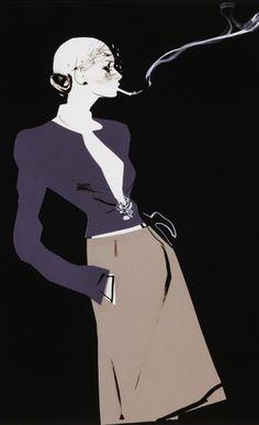 Fashion illustration by David Downton, 2011, Chanel (Smoking).