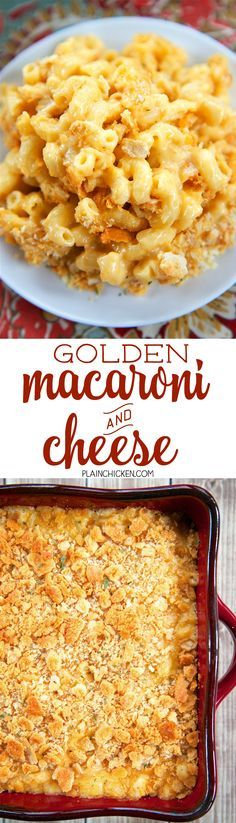 Golden Macaroni and Cheese - quick homemade macaroni and cheese topped with Ritz crackers and baked. SO good - I could make a meal out of this! YUM!! Can easily half or double the recipe for a crowd! Macaroni tossed in a homemade cheese sauce - butter, flour, milk, dry mustard, onion, Worcestershire sauce and cheddar cheese. Ready in under 30 minutes!