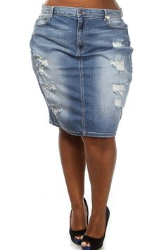 Plus Size Button-Down Denim Skirt | Top of Mind | Pinterest ...