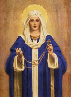 Blessed Virgin Mary Our Lady of the Rosary Our Lady Of Rosary, Holy Rosary, Blessed Mother Mary, Blessed Virgin Mary, Religious Images, Religious Art, Jesus In The Temple, Vintage Holy Cards, Catholic Art