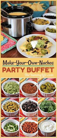 An easy menu for parties like Game Day and Cinco de Mayo that's always a crowd pleaser. Queso, chips and a variety of toppings are all you need.