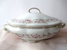 Antique Scherzer Bavarian Mignon Pink and Green by thechinagirl