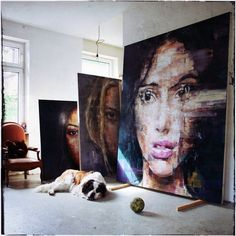 Brazilian-born, Berlin-based artist Harding Meyer paints large-scale expressive portraits of women and men that blur the boundaries between realism and surrealism.