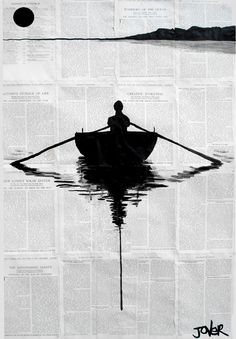 a simple plan, a Pen and Ink on Paper by LOUI JOVER from Australia. It portrays: People, relevant to: jover, boating, water, Pop art, loui jover, drawing, feeling, freedom, ink, modern ink on glued together book pages