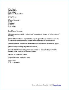7 best reference letter images on pinterest letter templates sample reference letter template expocarfo Images