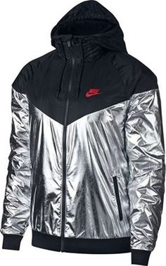 2238803d22 Nike Sportswear Metallic Windrunner Jacket Mens M Black Metallic Silver   Nike  TrackJacket Nike Windrunner