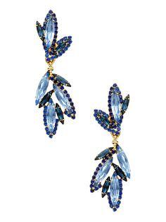 Blue Navette Cluster Drop Earrings by Elizabeth Cole at Gilt