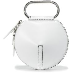 3.1 Phillip Lim Alix Circle Clutch ($395) ❤ liked on Polyvore featuring bags, handbags, clutches, white, 100 leather handbags, leather purses, white clutches, genuine leather purse and 3.1 phillip lim purse