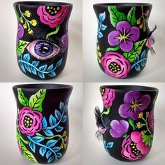 Neon Floral Tumbler - acrylic and paperclay on ceramic tumbler