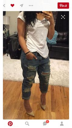 Ideas How To Wear Casual Outfits Simple Boyfriend Jeans For 2019 Mode Outfits, Jean Outfits, Fall Outfits, Summer Outfits, Casual Outfits, Fashion Outfits, Womens Fashion, Summer Clothes, Fashion Killa