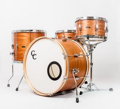 C&C Drums Europe - Vintage Drums - Player Date Europe - Natural African Mahogany - Kit (side) www.candcdrumseurope.com