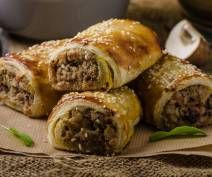 Pork, Vegetable, and Quinoa Sausage Rolls Recipe Sausage Roll Pastry, Sausage Rolls, I Love Food, Good Food, Yummy Food, Weith Watchers, Tapas, Instant Mashed Potatoes, Best Sausage