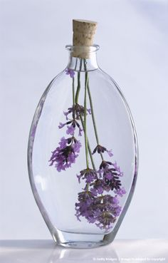 Lavender in glass bottle of lavender oil