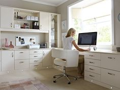 Dream Home Office Designs With Cool Furniture Set. Modern Creamy Brown Home  Office Design Ideas With Large Computer Desk With Storage Drawers And File  ...