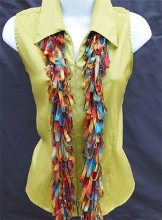 Calypso SassyWrap - Beautiful earth tone ribbon Scarves  $40