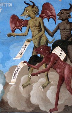 Devils - a fresco detail from the Rila Monastery