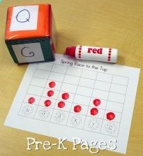 Race to the Top is a fun game that can be adapted for many different skills and levels. You can use these types of games to practice letter recognition, sight words, or even numbers.