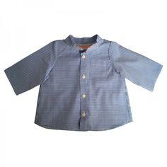 Chemise col mao GASPARD-devant-vichy bleu/blanc