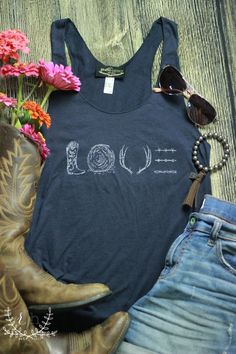 Our New T-Shirt Line! Rustic Honey is now designing and producing its own line of graphic tees! Unique styles, made in America, and completely exclusive to RH! This super navy graphic tank is incredib