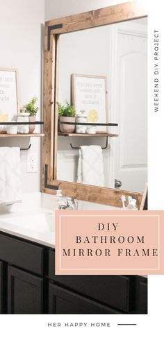 Learn the easy way to DIY and frame a bathroom mirror, without removing the plastic mirror clips! #diymirrorframe This post may contain affiliate links, at no extra cost to you. Large Bathroom Mirrors, Bathroom Mirror Makeover, Diy Bathroom Vanity, Diy Bathroom Remodel, Bathroom Wall Decor, Master Bathroom, Redo Mirror, Budget Bathroom, Small Bathrooms