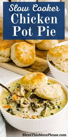 Crock Pot Chicken Pot Pie is a truly delicious meal that will warm you up on a cold winter day! With healthy vegetables, creamy chicken and a warm biscuit, this simple chicken dinner will win over your appetite. #crockpot #chicken #dinner #recipe Healthy Slow Cooker, Best Slow Cooker, Slow Cooker Recipes, Crockpot Recipes, Easy Family Dinners, Healthy Vegetables, Biscuit Recipe, Creamy Chicken, Pot Pie