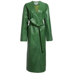 Women's Loewe Long Nappa Leather Coat (€1.585) ❤ liked on Polyvore featuring outerwear, coats, loewe, long coat, long green coat, collarless coat and green coats