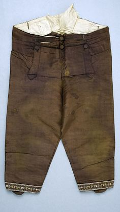 Breeches  Date:     18th century Culture:     American or European Medium:     silk Dimensions:     Length: 29 in. (73.7 cm) Credit Line:  Accession Number: 08.86.5