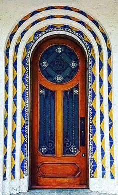 Colorful door in Mexico City, Mexico.