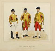 Picture from 1887 showing the State Liveries, worn with caps, by members of the Royal Mews when accompanying Queen Victoria's carriage.