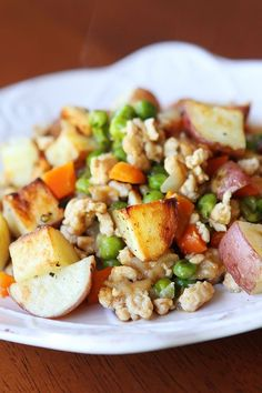 Easier Shepherd's Pie with Roasted Potatoes-- a little bland but easy. My 3yo enjoyed it and she usually hates peas. Super easy way to make red potatoes though!