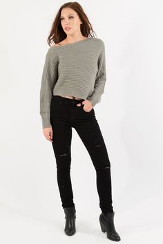 Asymmetrical Cropped Knit Sweater - Stone  Want to stay warm and cozy, yet still show off those curves while doing so?  The asymmetrical, ladder knit, off the shoulder cropped sweater is just what you need!   #womenssweaters